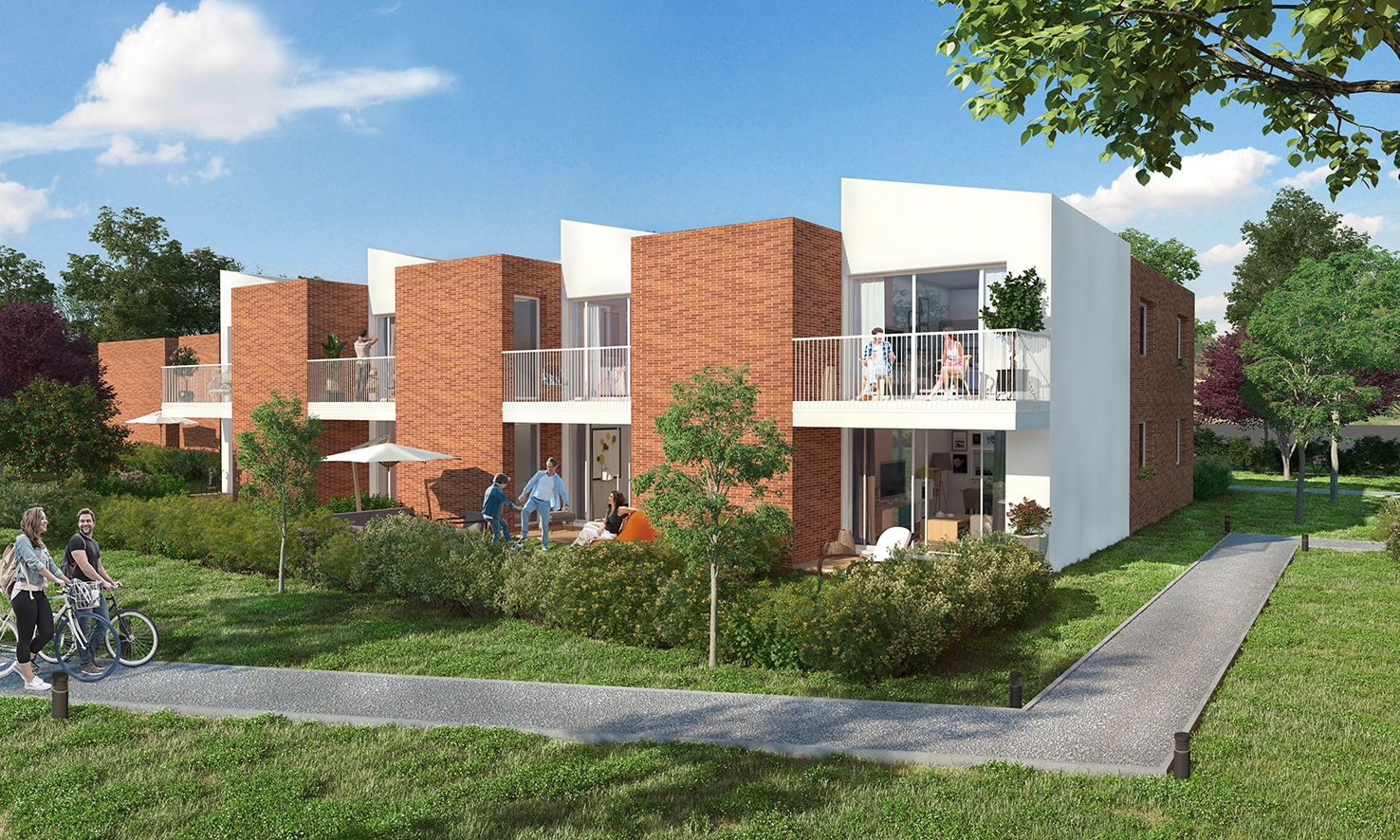 Perspective coeur d'ilot programme immobilier Cosmo Toulouse
