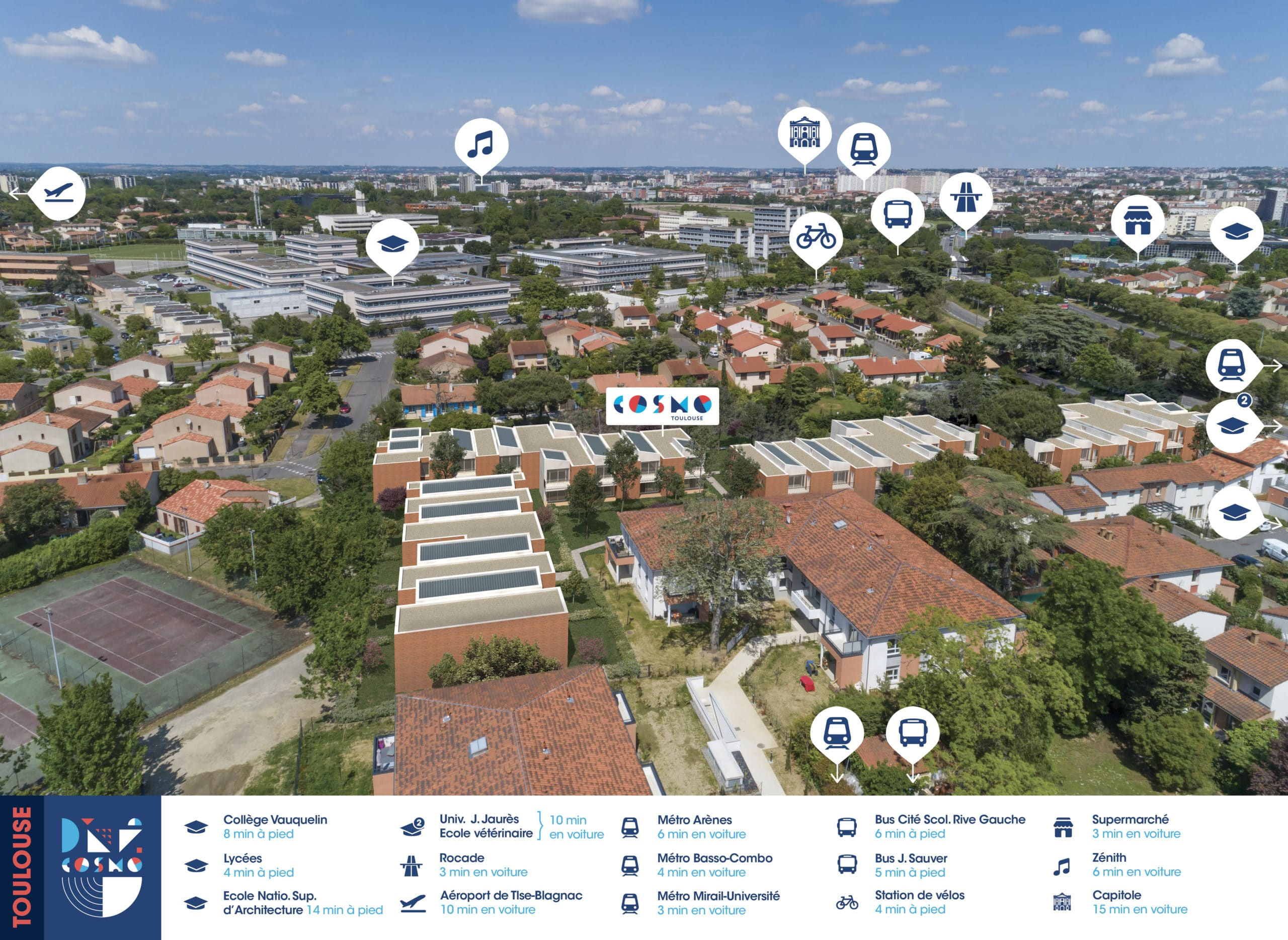 Perspective aerienne programme immobilier Cosmo Toulouse