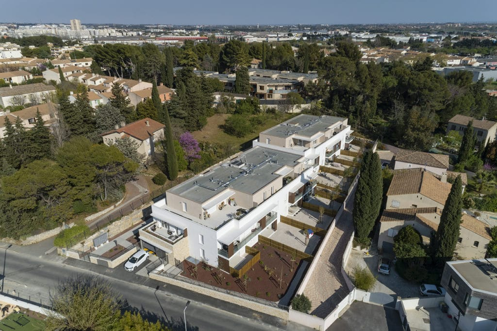 Photo drone Biloba Montpellier programme immobilier